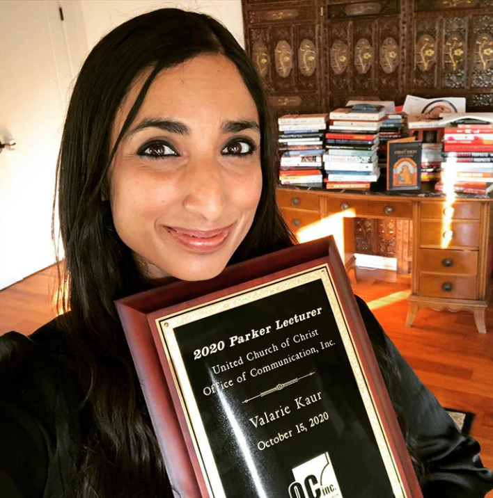 Valarie Kaur with Parker Lecture plaque