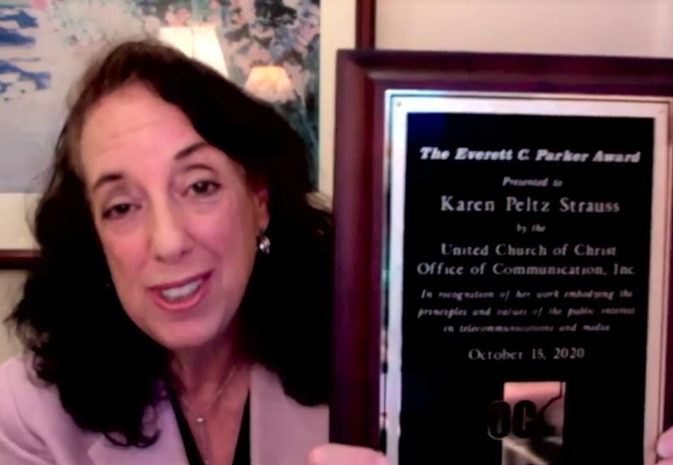 Karen Peltz Strauss with the Parker Award plaque